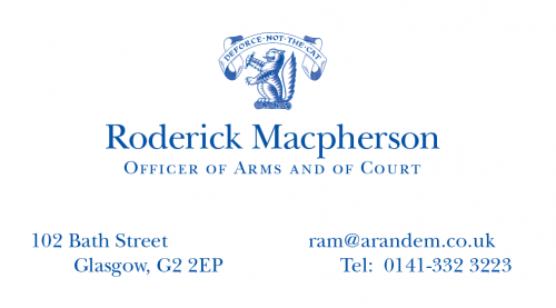 Rutherford and Macpherson Scottish Office Messenger-at-Arms Glasgow Business card